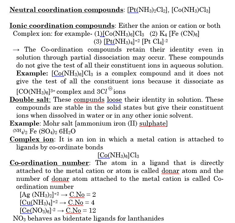 The product so formed is known as coordination compounds