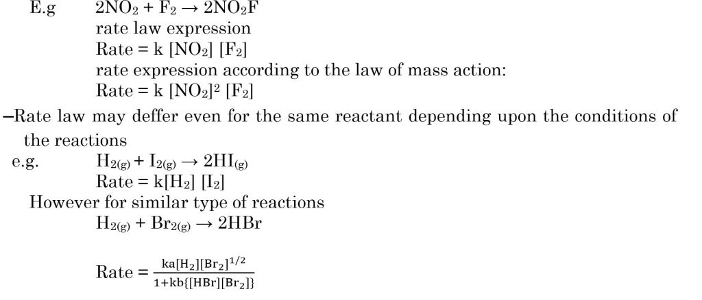 rate expression on the basis of overall balanced equation